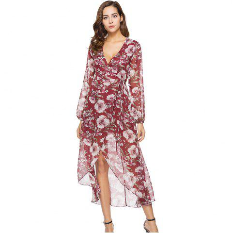 Cheap Spring New Long Sleeve Loose Casual Floral Printed Dress