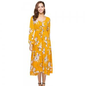New Fashion Casual Long Sleeve Floral Printed Dress -