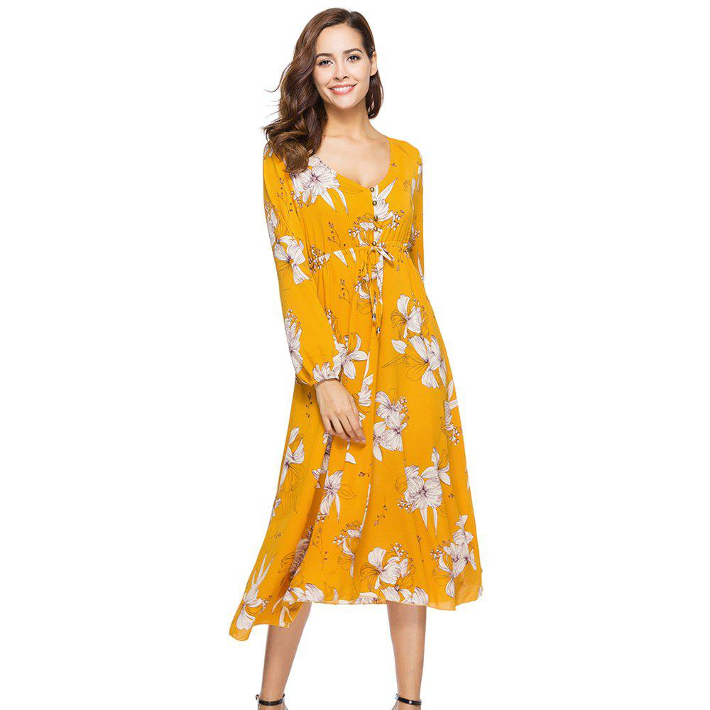 Latest New Fashion Casual Long Sleeve Floral Printed Dress
