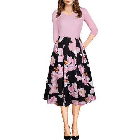 Printemps Automne 3/4 Manches Fashion Floral Imprimé Dress