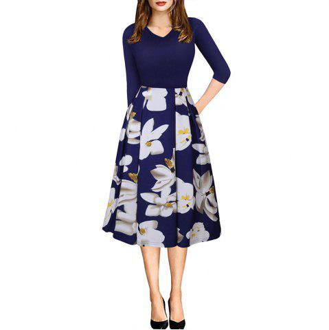 Cheap Spring Autumn 3/4 Sleeve Fashion Floral Printed Dress