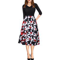 Printemps Automne 3/4 Manches Fashion Floral Imprimé Dress -