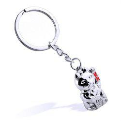 Мода Lucky Cute Cat Shape Key Chain Metal Key Ring Творческий подарок -