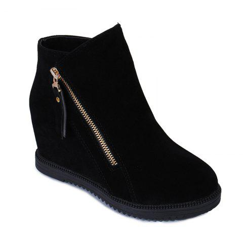 Outfit Gray Zipper Suede Ankle Slip-On Women Boots
