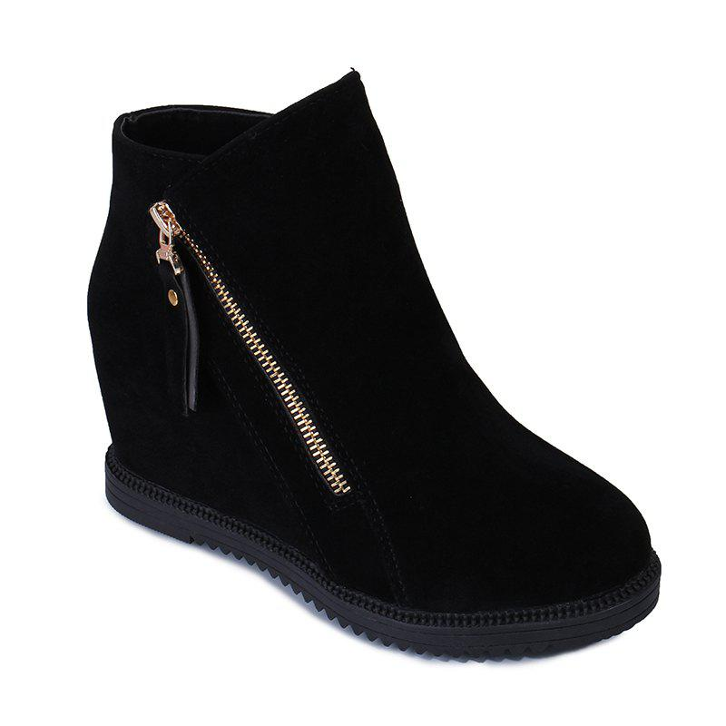 Cheap Gray Zipper Suede Ankle Slip-On Women Boots