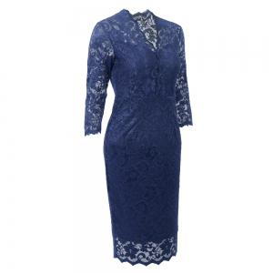 Hot Sale 2018 Embroidery Vintage  Women 3/4 Sleeve Casual Evening Party Lace  Sheath Shift   Dress -