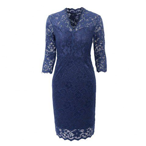 Shop Hot Sale 2018 Embroidery Vintage  Women 3/4 Sleeve Casual Evening Party Lace  Sheath Shift   Dress