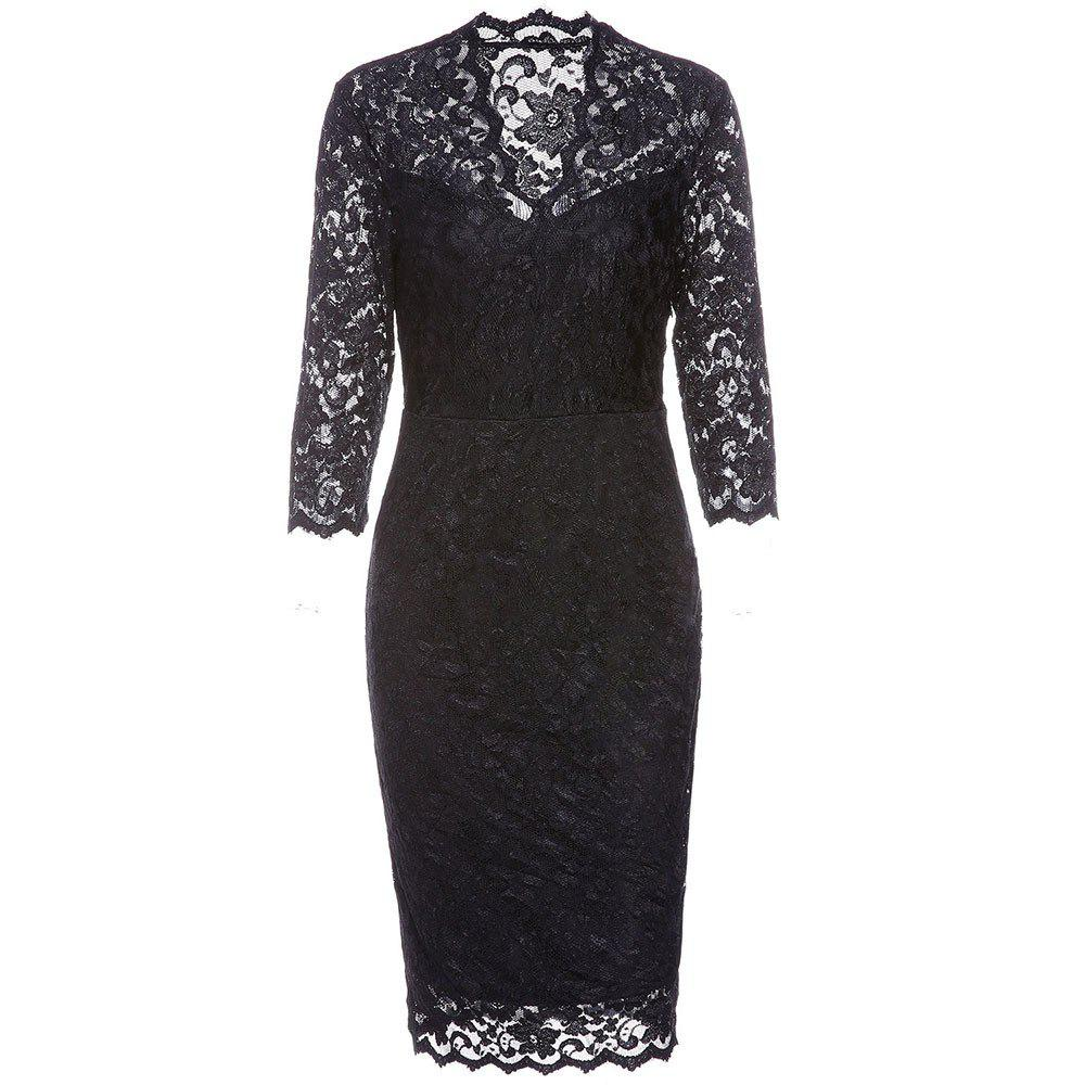 Hot Hot Sale 2018 Embroidery Vintage  Women 3/4 Sleeve Casual Evening Party Lace  Sheath Shift   Dress