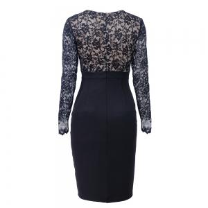 Elegant Woman Long Sleeve Sexy Lace V Neck Fashion Pencil Dress -