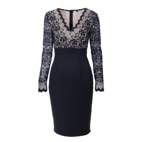 Affordable Elegant Woman Long Sleeve Sexy Lace V Neck Fashion Pencil Dress