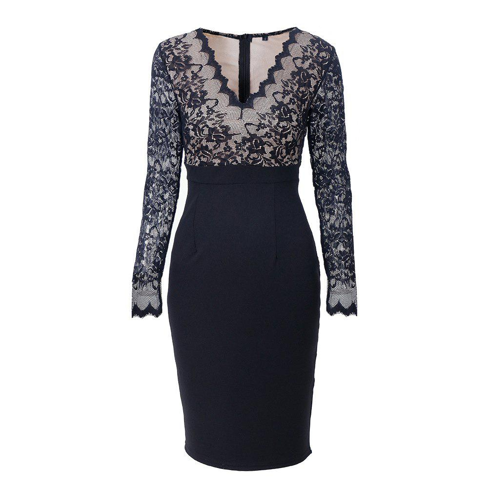 Outfit Elegant Woman Long Sleeve Sexy Lace V Neck Fashion Pencil Dress