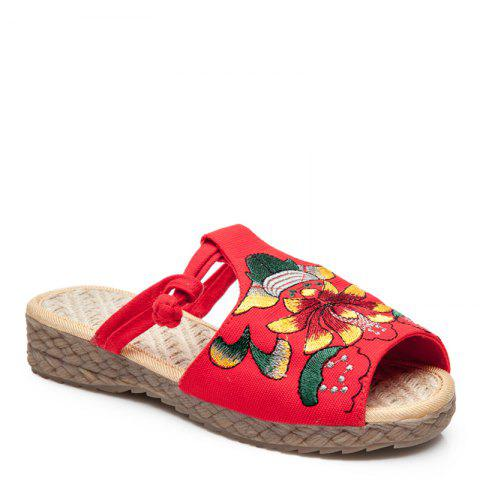 Shop Folk Style Embroidery Fashion Dichotomanthes Bottom Antiskid Slippers