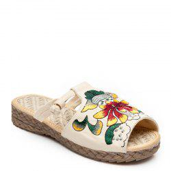 Folk Style Embroidery Fashion Dichotomanthes Bottom Antiskid Slippers -