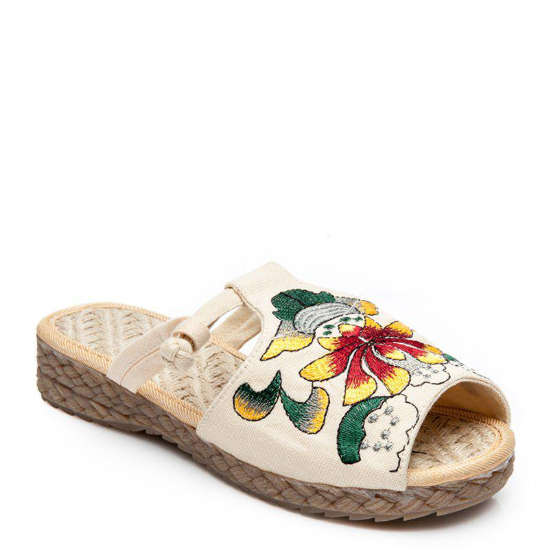 Hot Folk Style Embroidery Fashion Dichotomanthes Bottom Antiskid Slippers