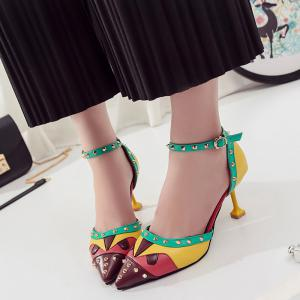 Fashionable High-heeled Rivet Spikes Sandals -