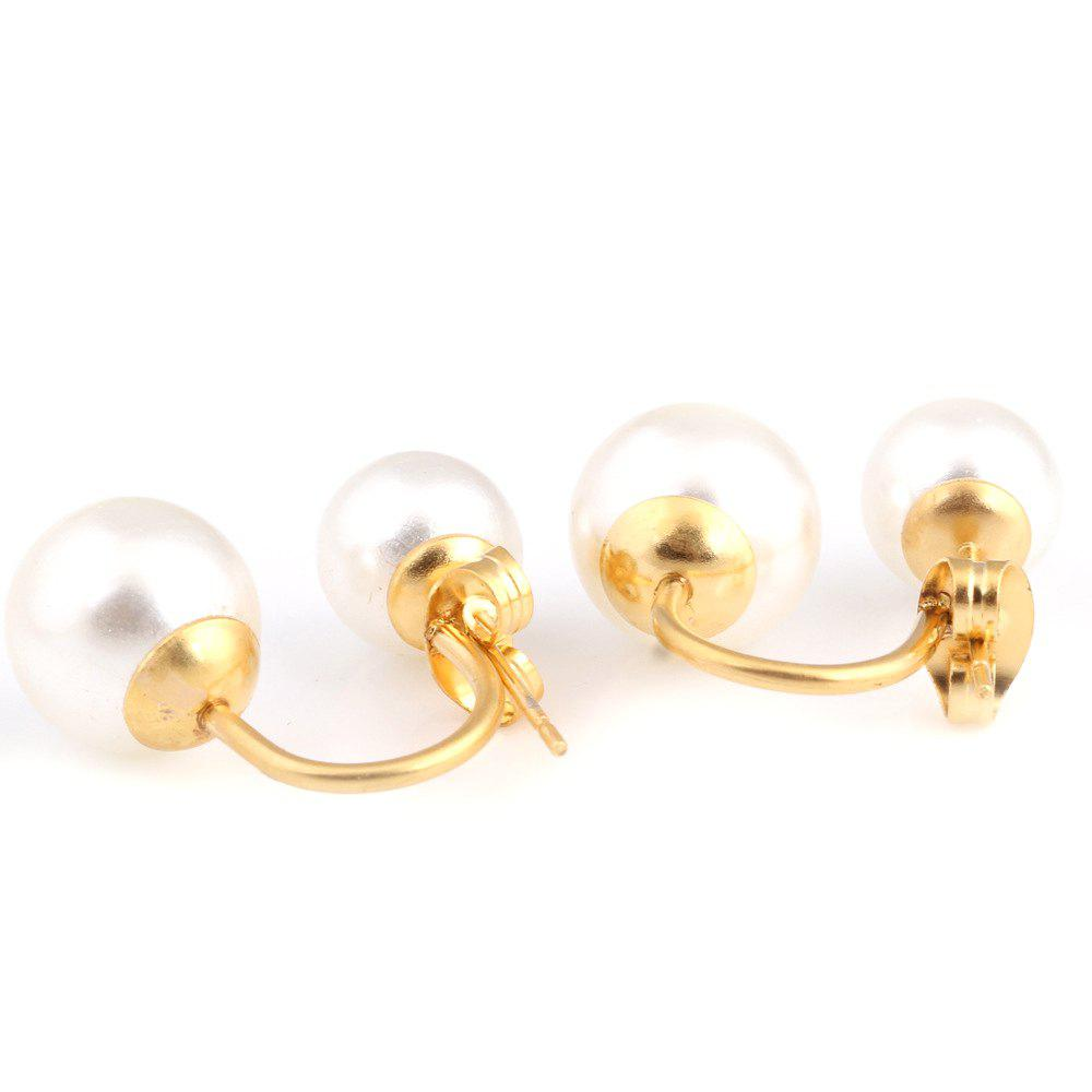Titanium Jewelry Double Pearl Stainless Steel Stud