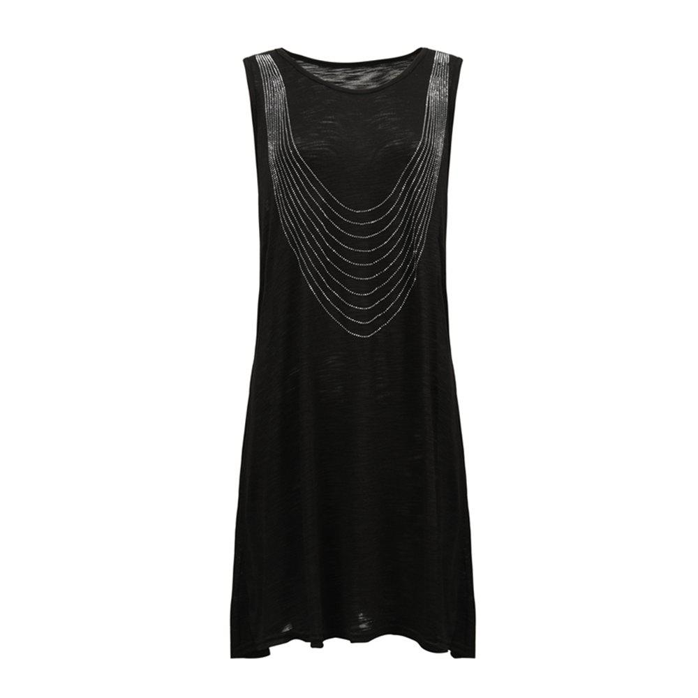Online Long Diamond Sleeveless Diamond T-Shirt Female Leisure