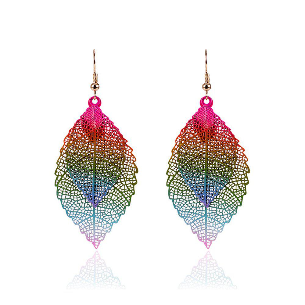 Bild von Women Girls Fashion Jewelry Hollow Leaves Pendant Metal Drop Earrings Fashion Jewelry
