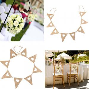 New Vintage Bunting Love Heart Hessian Burlap Fabric For Married Wedding Party Banner Decor -