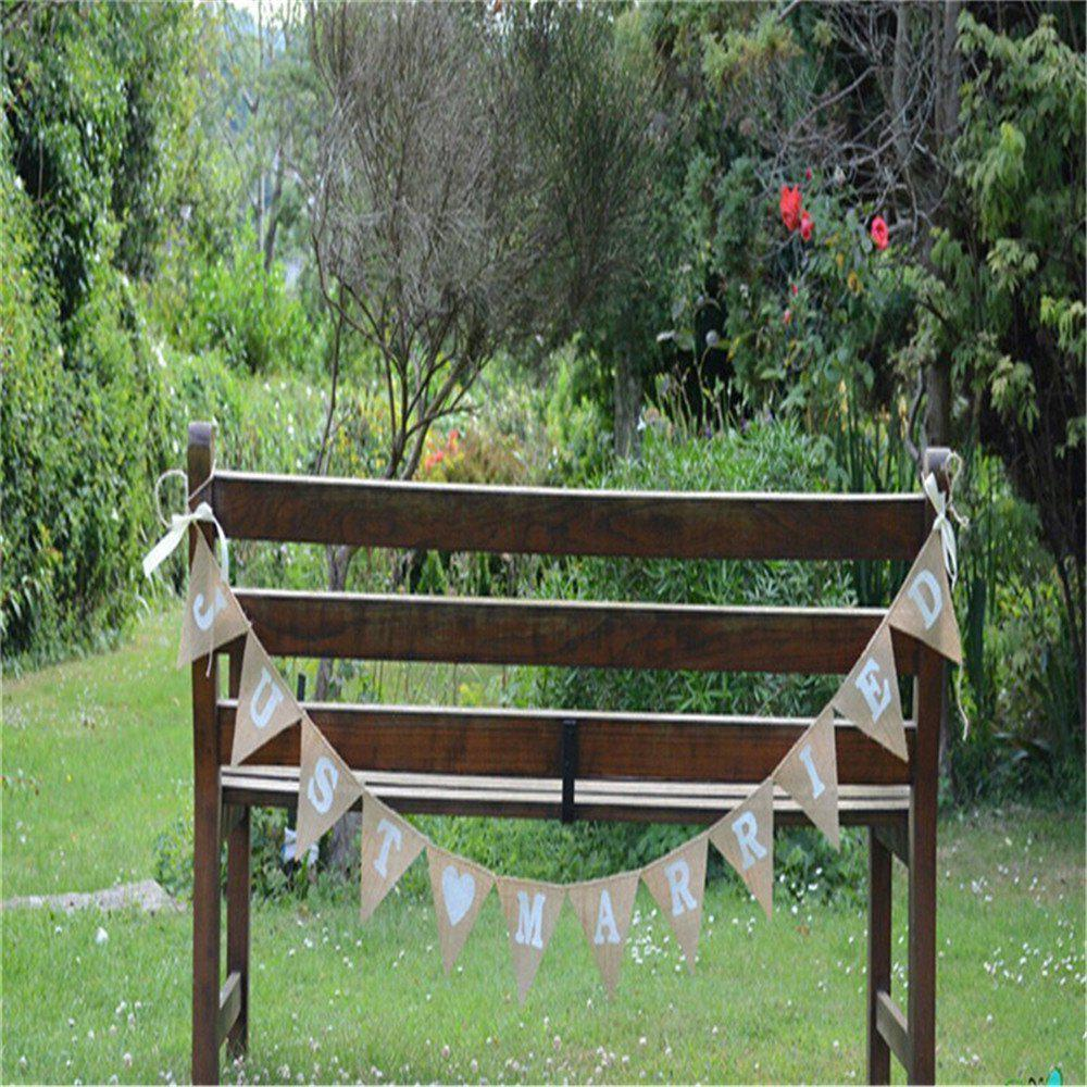 Hot Wedding Photo Props Vintage Banner Jute Burlap Bunting Just Married Rustic Garland Party Hanging Decoration