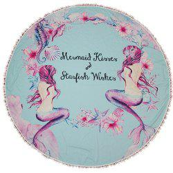 Circular Mermaid Creative Design White Ball Splicing Beach Towel -