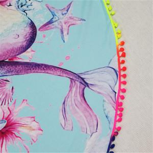 Circular Mermaid Creative Design Color Ball Splicing Beach Towel -