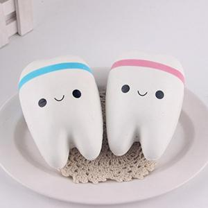 New Cute Creative Smiley Tooth Very Soft Slow Rising Squeeze Rare Kids Toy -