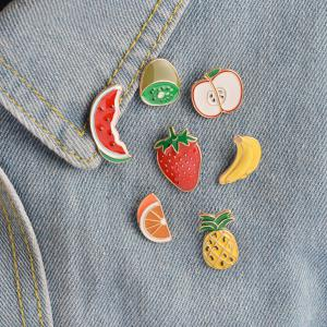 Banana Strawberry Watermelon Kiwi Apple Orange Pineapple Brooch Pins Button Jacket Cowgirl Pin Badge Cartoon Fruit Gift -