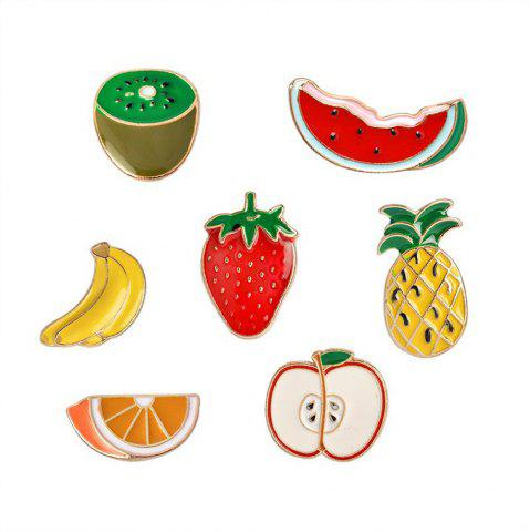 Trendy Banana Strawberry Watermelon Kiwi Apple Orange Pineapple Brooch Pins Button Jacket Cowgirl Pin Badge Cartoon Fruit Gift