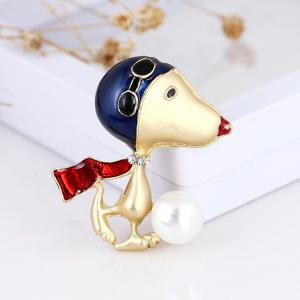 Lovely Enamel Dog Brooch Jewelry For Women Girls Fashion Gold Alloy Crystal Color Suit Lapel Animal Pin Brooches -