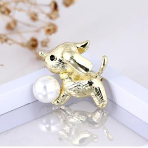 New Arrival Fashion Cute Dog Brooch for Women Men Lovely Pearl Pins Brooches Fresh Water Sweater Suit Scarf Jewelry Cors -