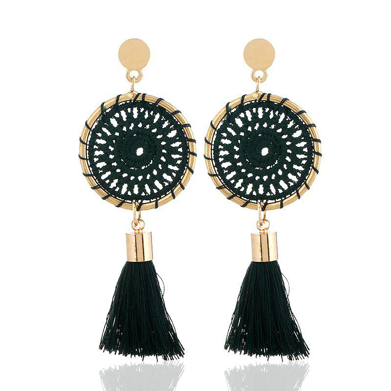Fancy Gold Round Cotton Boho Ethnic Tel Drop Earrings Women Las 2018 Fashion Earring Bohemia Statement