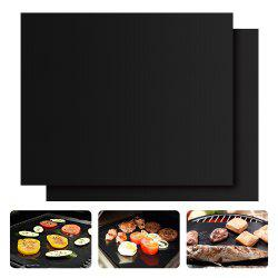 Heavy-duty Non-stick PTFE BBQ Grill Mat Oven Liner Reusable and Refractory Barbecue Grilling and Baking Pads 2-Pack -