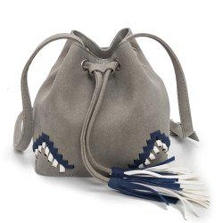 National Wind Scrub Woven Drawstring Bucket Bag Messenger Shoulder Bag -