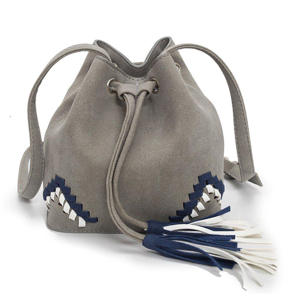 Unique National Wind Scrub Woven Drawstring Bucket Bag Messenger Shoulder Bag