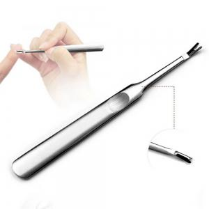 Stainless Steel Cuticle Pusher Dead Skin Fork and Nail File Buffer Tool -