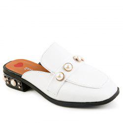 Retro Rough Heel Pearl Cool Slippers -