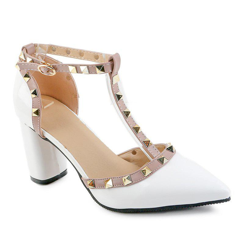 Online A Buckle Hollow Pointed Leather Sandals