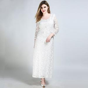 Cute Ann Women's Sexy 3/4 Sleeve Long Maxi Plus Size Formal Lace Dress -