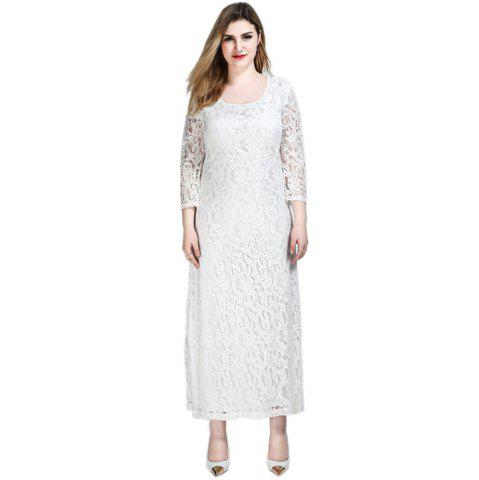 Chic Cute Ann Women's Sexy 3/4 Sleeve Long Maxi Plus Size Formal Lace Dress