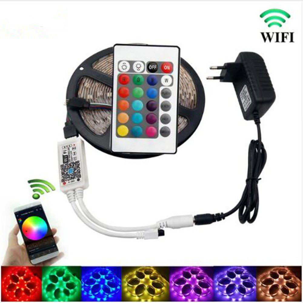 Online KWB WiFi Controller 5050 RGB LED Strip Light 60LED/m Neon Lamp Decor Tape Diode Ribbon DC 12V Adapter