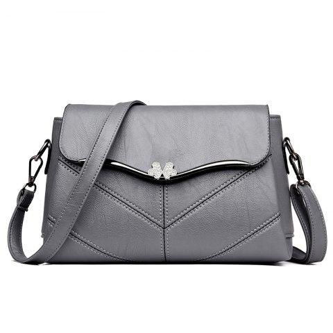 Online High quality stitching ladies messenger bag Metal bow women's casual handbags