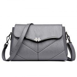 High quality stitching ladies messenger bag Metal bow women's casual handbags -