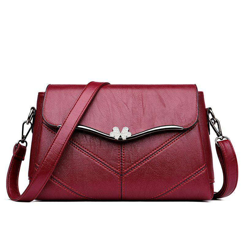 Latest High quality stitching ladies messenger bag Metal bow women's casual handbags