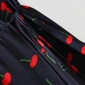 New Lady Cherry Collect taille manches courtes robe col V profond -
