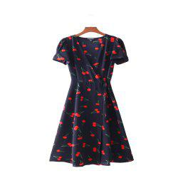 New Lady Cherry Collect Waist Short Sleeved Deep V Neck Dress -