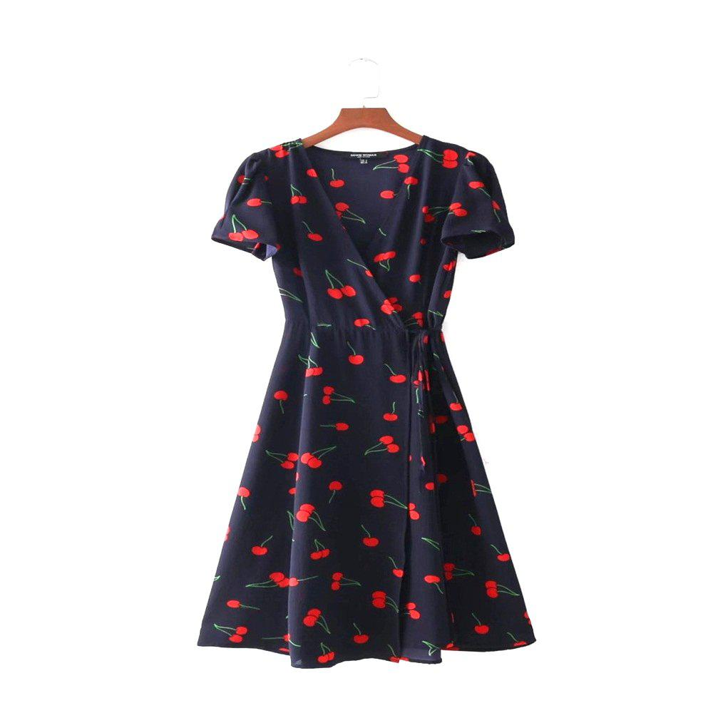 Store New Lady Cherry Collect Waist Short Sleeved Deep V Neck Dress