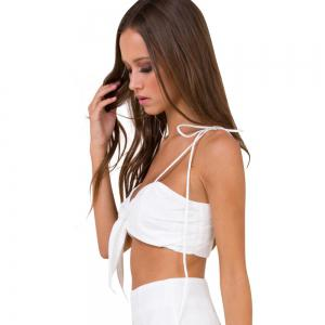 Women V Neck Tie Knot Short Beach Cami Tops -