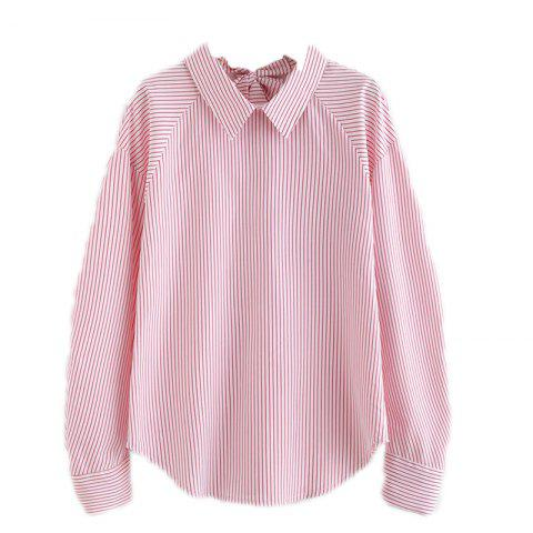 Trendy Back Line Bow Striped Shirt