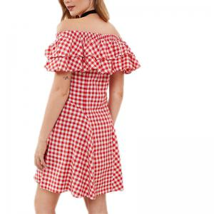 Flounce Bra Slim Plaid Dress -